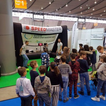 Speed measuring system and inflatable goal-fair-highlight